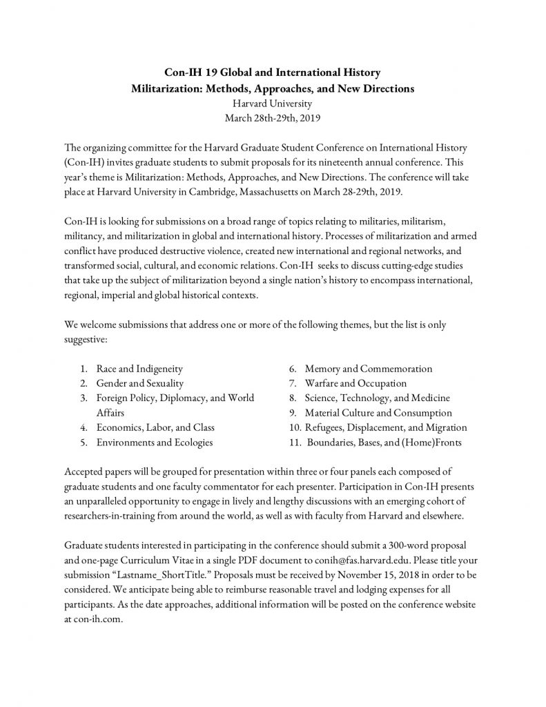 november 15 call for papers militarization methods approaches and new directions